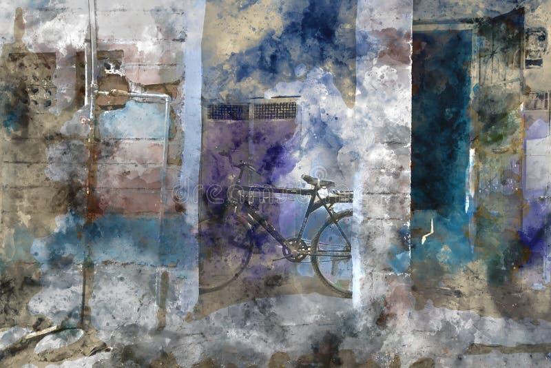 Pintura del extracto de la acuarela de la bicicleta al lado de la pared imagen de archivo