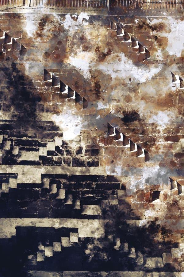 Pintura del extracto de la acuarela de escaleras en tono marrón foto de archivo