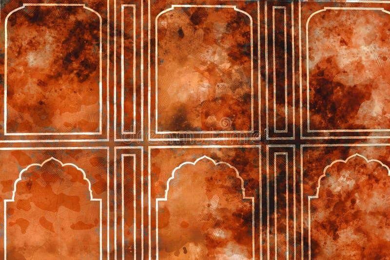 Pintura del extracto de la acuarela de la pared con la puerta en tono caliente imagenes de archivo