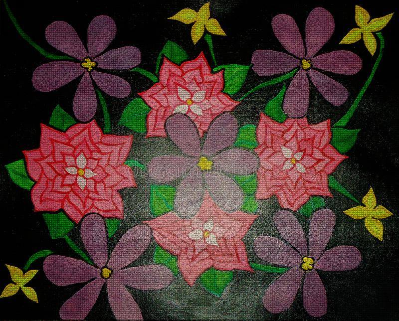 Pintura del extracto de la flor en diseño creado lona del fondo fotografía de archivo