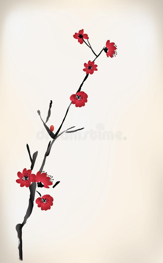 Pintura del flor stock de ilustración