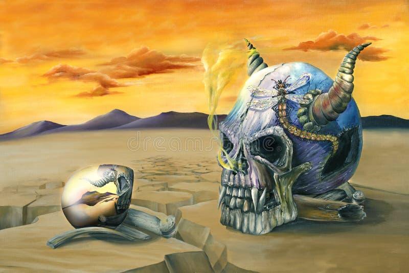 Pintura Del Huevo Y Del Cráneo Imagen de archivo