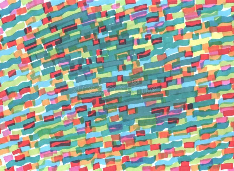 Pintura del marcador Rayas onduladas diagonales multicoloras Textura exhausta de la mano del Grunge para el fondo Ilustraci?n de  ilustración del vector