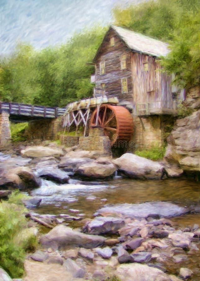 Pintura del molino del grano para moler de la cala del claro fotos de archivo libres de regalías