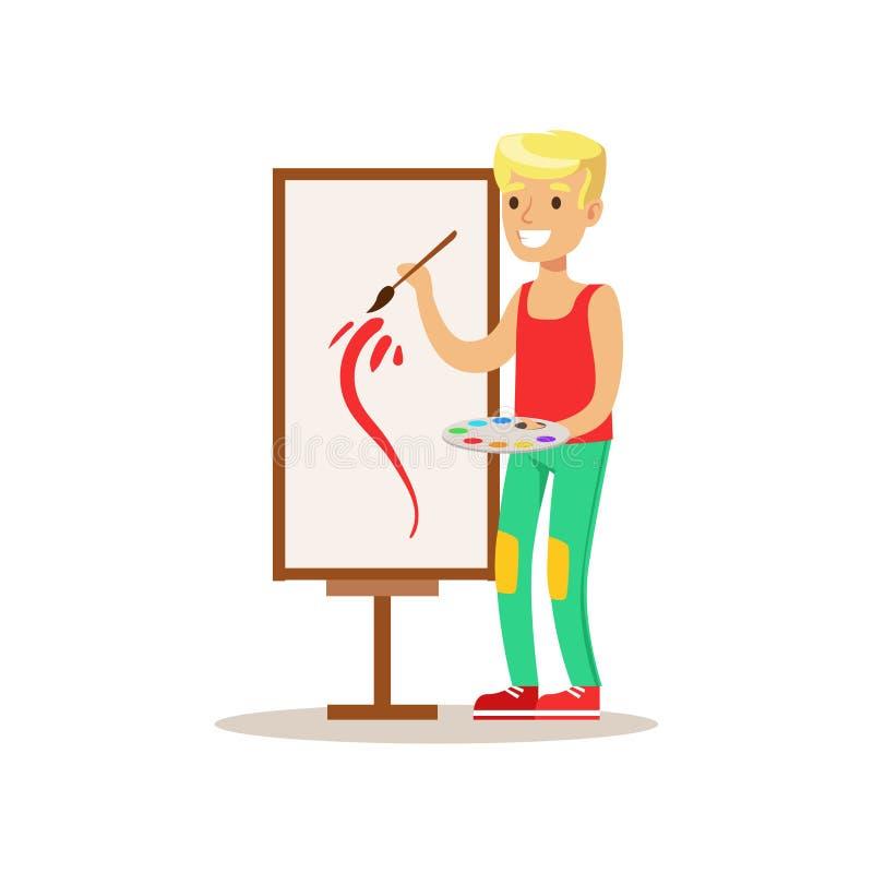 Pintura del muchacho, artes practicantes del niño creativo en Art Class, niños y ejemplo temático de la creatividad ilustración del vector