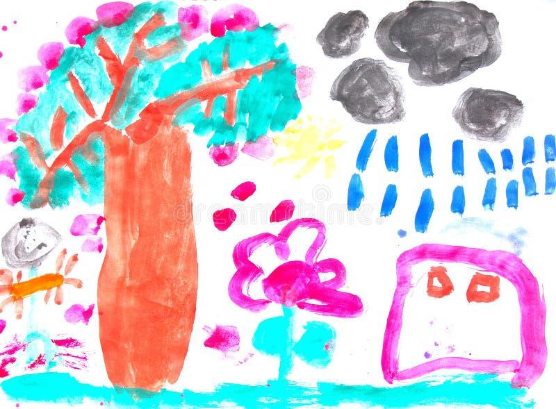 Pintura del niño stock de ilustración