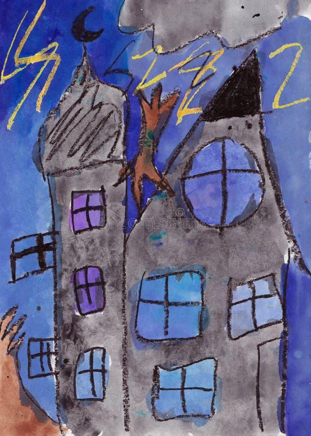 Pintura del niño de un castillo en la tormenta Técnicas mixtas imagen de archivo