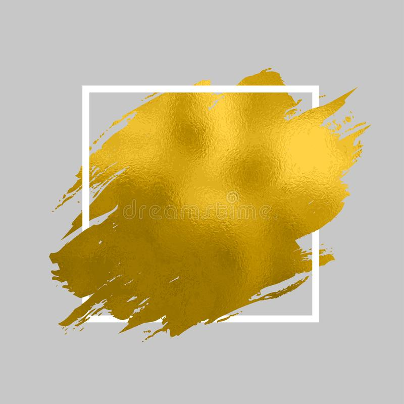 Pintura del oro en cuadrado Movimientos del cepillo para el fondo del cartel Ejemplo texturizado que brilla de la pintura de oro ilustración del vector