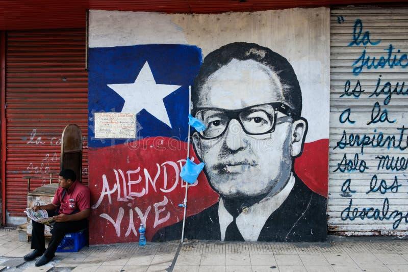 Pintura del retrato del presidente anterior de Chile, Salvador Allende imagen de archivo libre de regalías