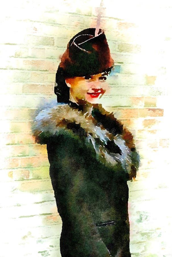 Pintura del retrato del Watercolour de la moda de la mujer en 1940 s libre illustration
