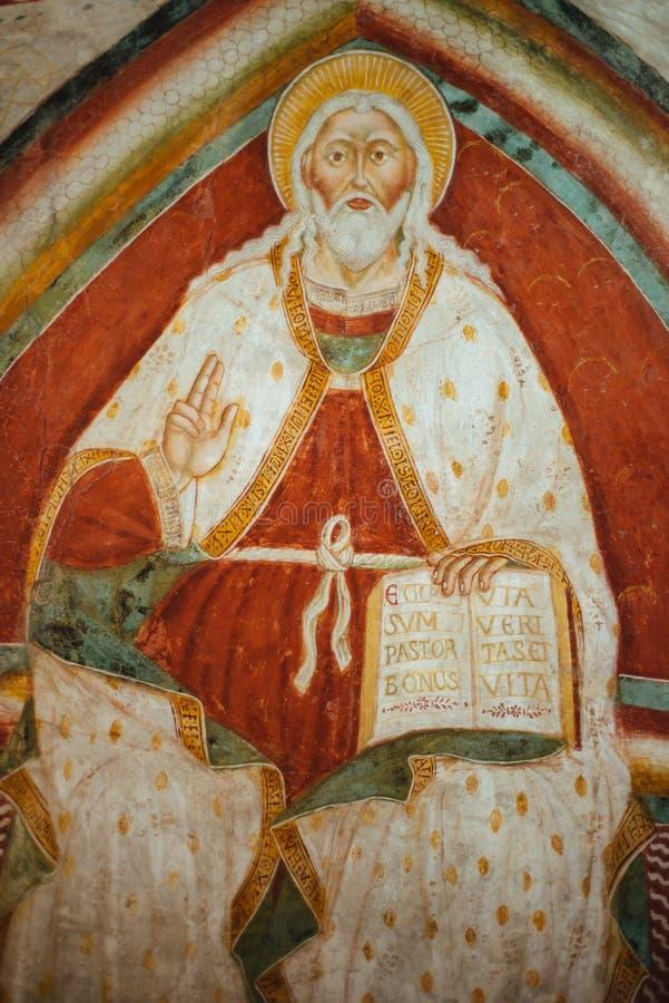 Pintura del señor Jesus Christ como buen pastor, iglesia Abb foto de archivo