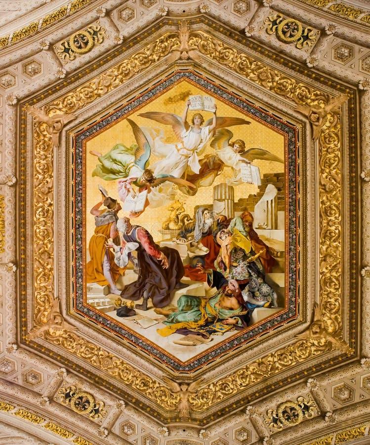 Pintura del techo en el Vatican fotografía de archivo