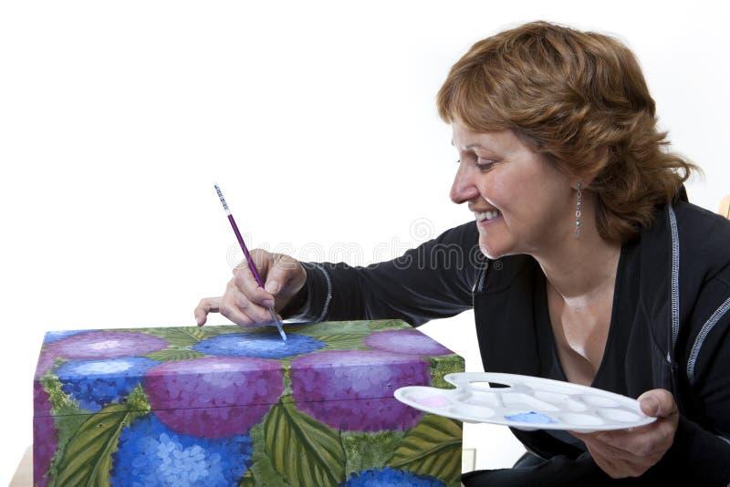 Pintura del tole de la mujer imagen de archivo libre de regalías
