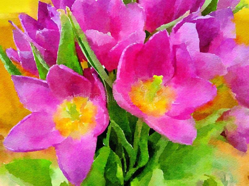 Pintura del Watercolour de flores Tulipanes rosados y amarillos ilustración del vector