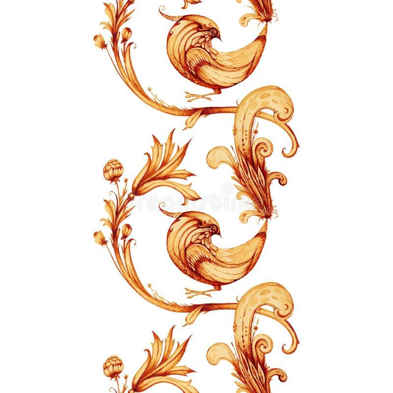 Pintura del watercolour del vector Firebird y flores ilustración del vector