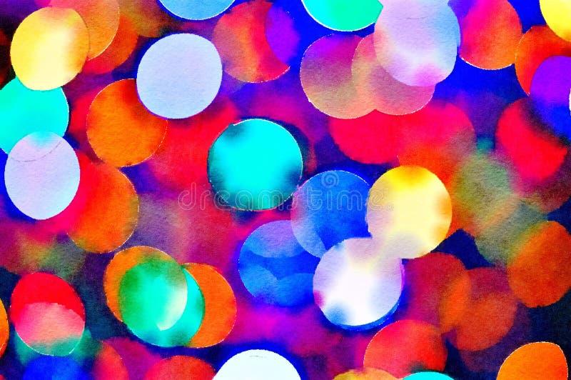 Pintura del Watercolour del fondo multicolor vibrante del bokeh de las luces de la Navidad ilustración del vector