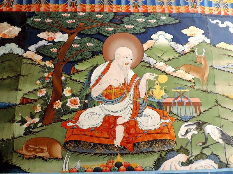 Pintura dentro de Punakha Dzong, Bhután fotografía de archivo