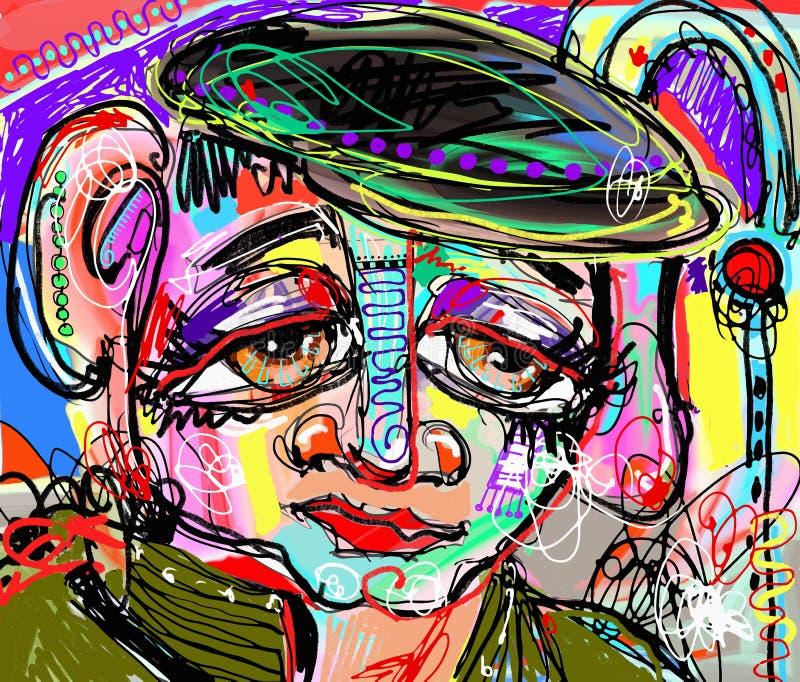 Pintura digital abstracta original del rostro humano stock de ilustración