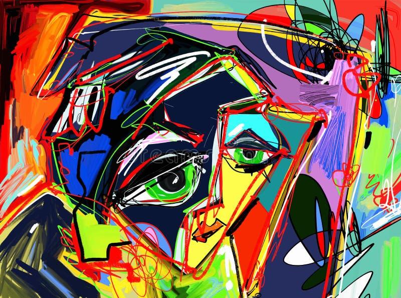 Pintura digital abstracta original del rostro humano, compo colorido stock de ilustración