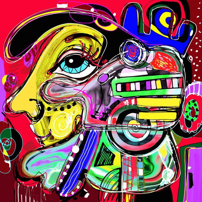 Pintura digital abstrata original do rosto humano ilustração stock