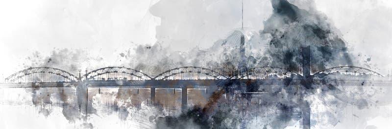 Pintura digital da aquarela da imagem panorâmico de uma ponte de estrada de ferro sobre o rio do Daugava Riga, Latvia ilustração do vetor