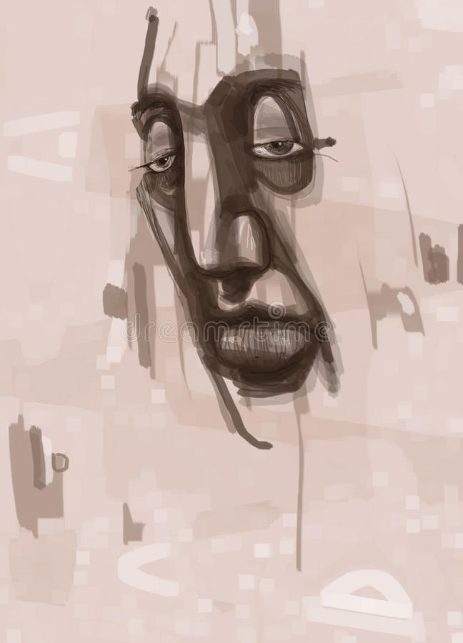 Pintura digital da cara do homem ilustração do vetor