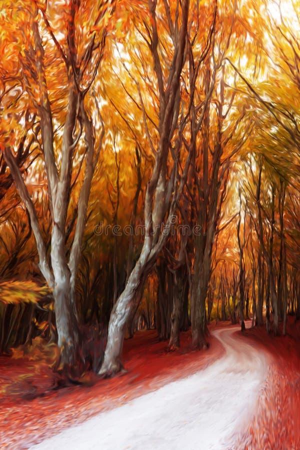 Pintura digital del bosque del otoño stock de ilustración
