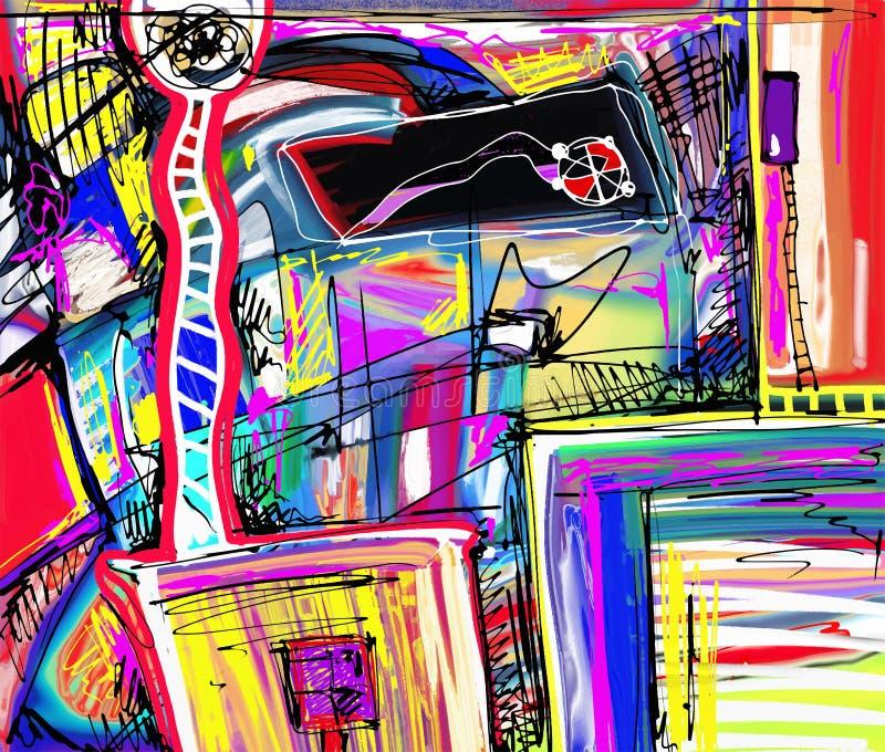 Pintura digital original da abstração ilustração stock