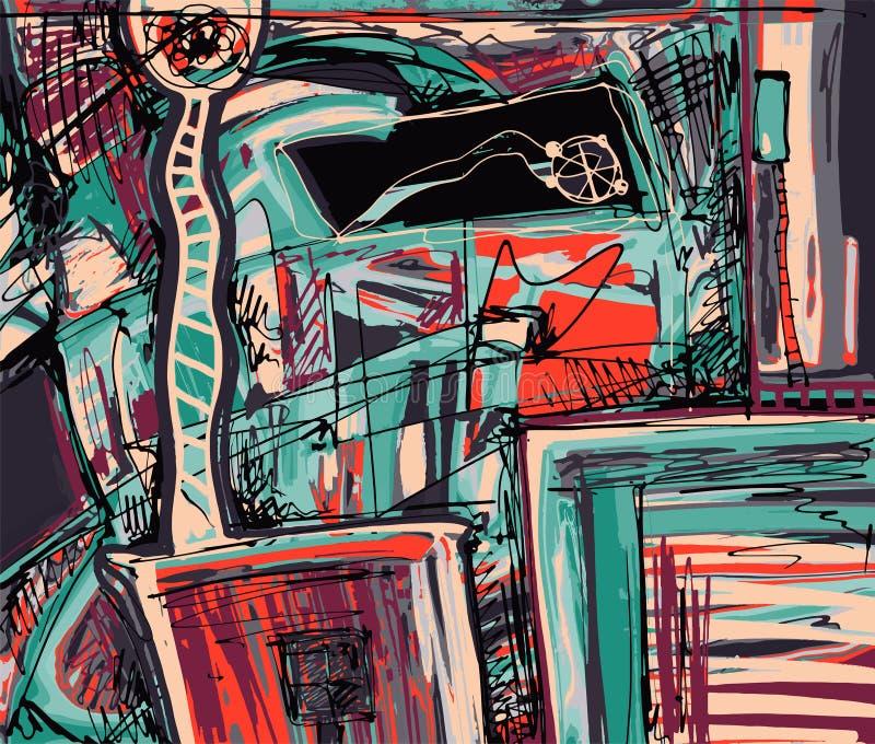 Pintura digital original da abstração ilustração royalty free