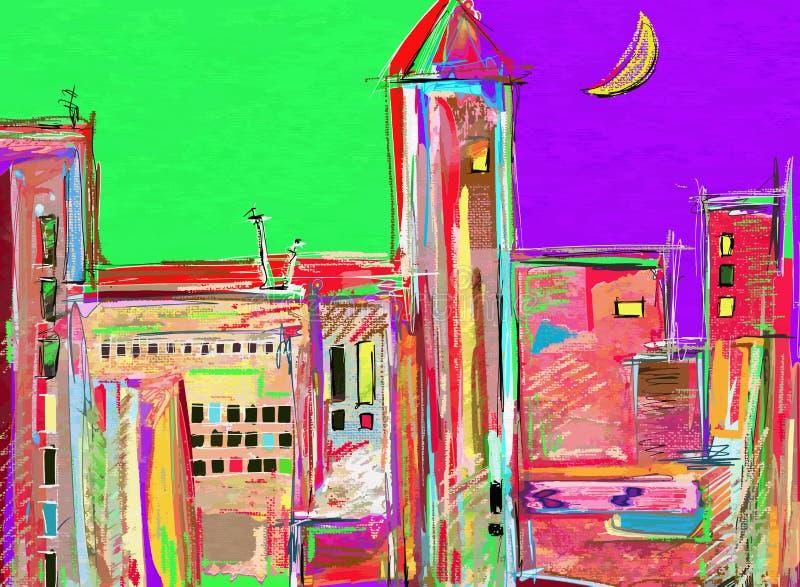 Pintura digital original, paisaje urbano de la noche moderno ilustración del vector