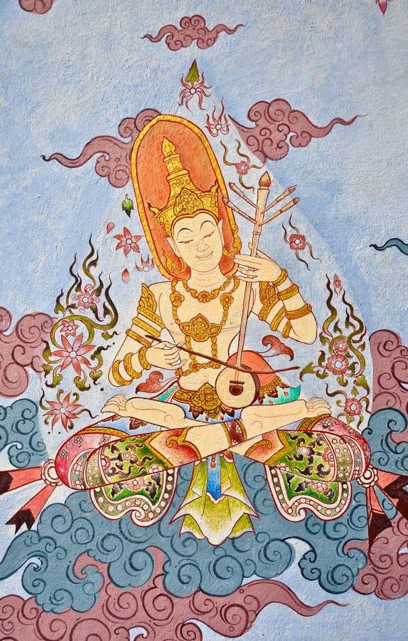 Pintura do ângulo no estilo nativo tailandês ilustração stock