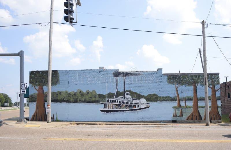 Pintura do barco a vapor, Marion Arkansas foto de stock