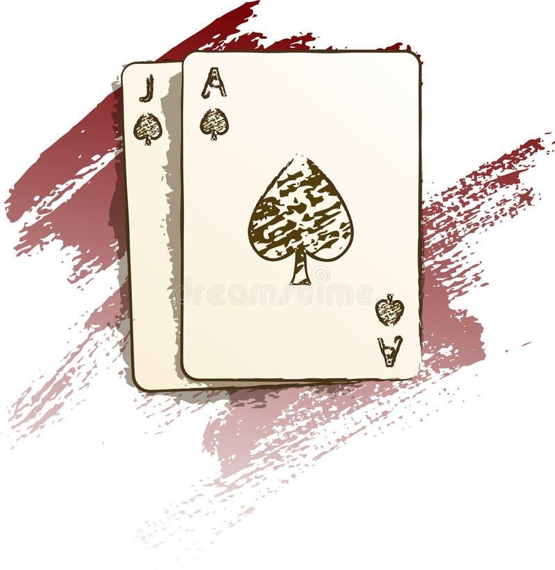 Pintura do Blackjack ilustração royalty free