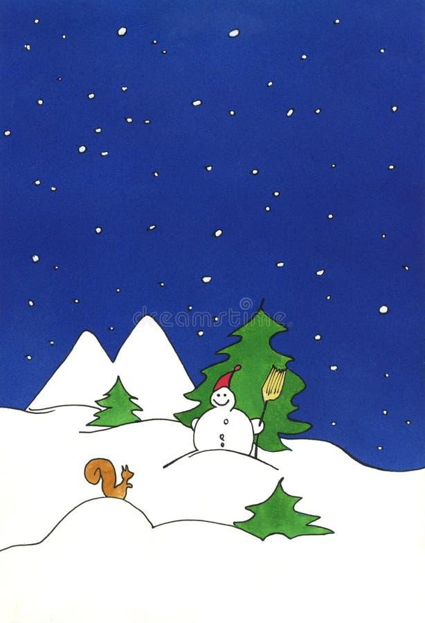 Pintura do boneco de neve ilustração stock