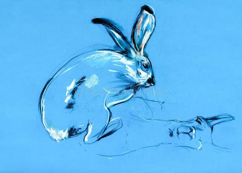 Pintura do coelho e do lama foto de stock