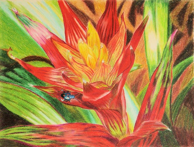 Pintura do erro azul na planta vermelha ilustração stock