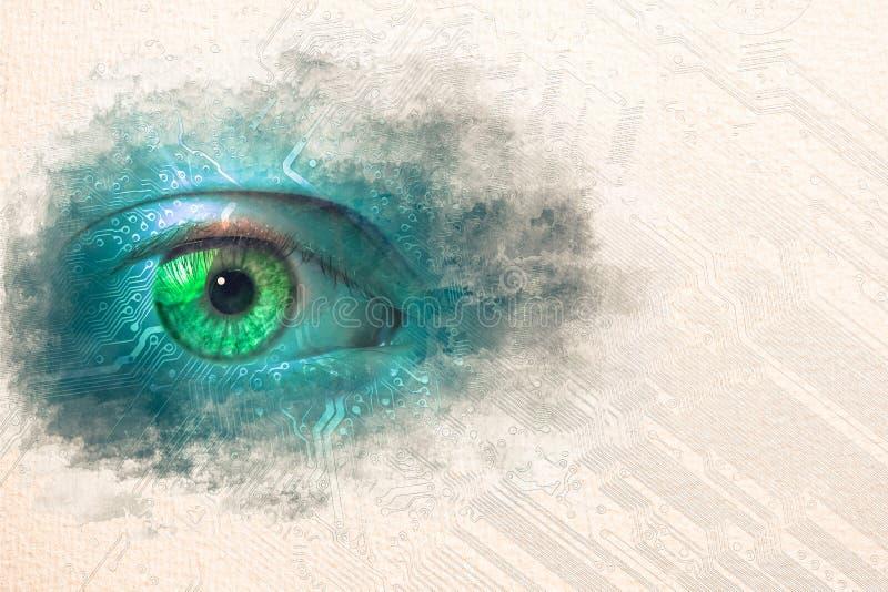 Pintura do esboço da aquarela do olho dos dados ilustração do vetor