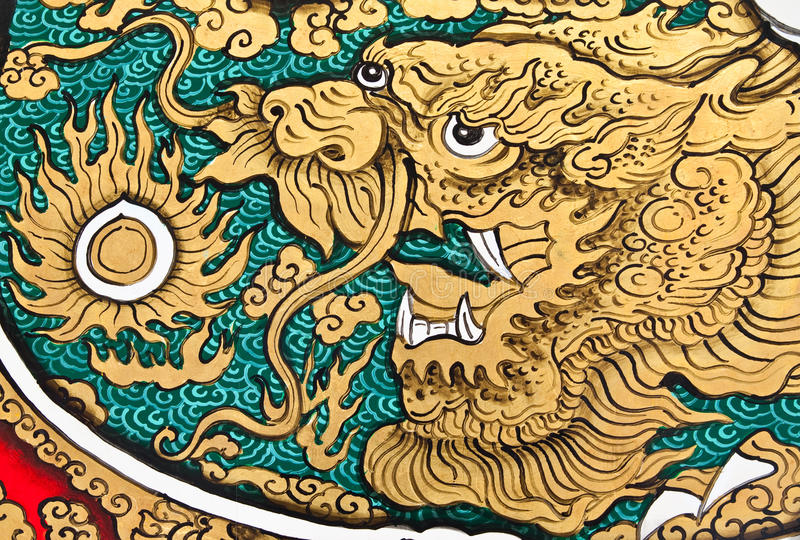 Pintura do estilo chinês da arte na parede imagem de stock royalty free
