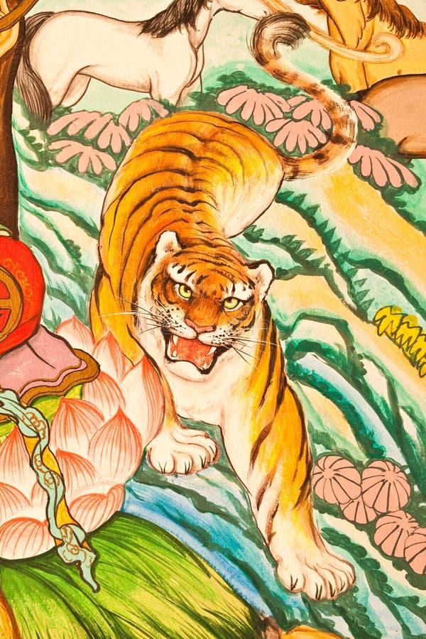 Pintura do estilo chinês da arte na parede imagens de stock royalty free