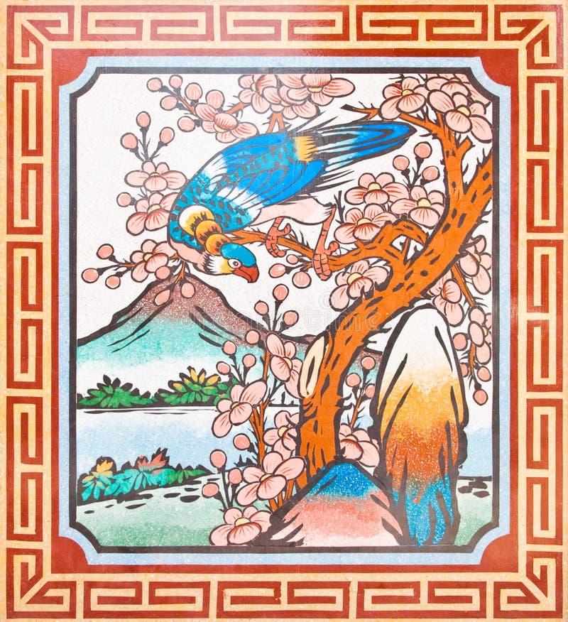 Pintura do estilo chinês da arte na parede do templo imagens de stock royalty free