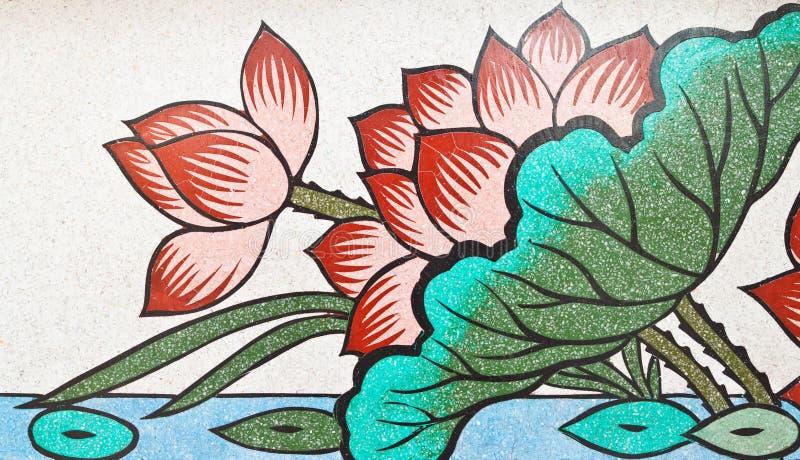 Pintura do estilo chinês da arte na parede do templo imagem de stock
