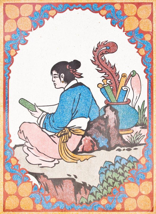 Pintura do estilo chinês da arte na parede no templo fotos de stock royalty free