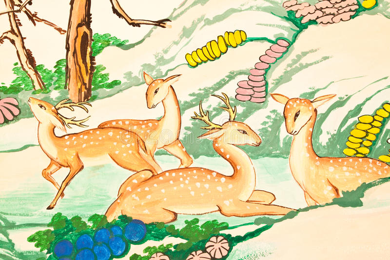 Pintura do estilo chinês da arte na parede no templo imagens de stock royalty free