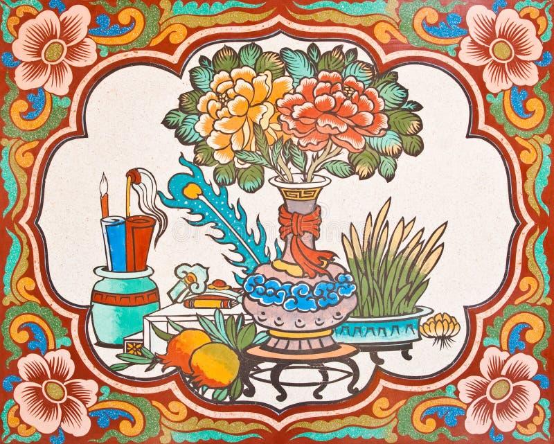 Pintura do estilo chinês da arte na parede no templo imagem de stock royalty free