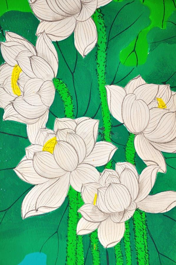 Pintura do estilo chinês de Lotus imagem de stock royalty free