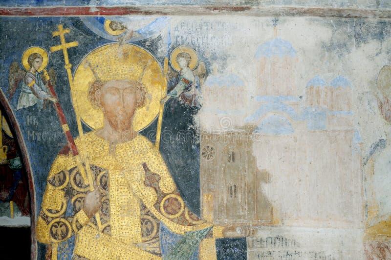 Pintura do fresco da déspota Stefan Lazarevic imagens de stock royalty free