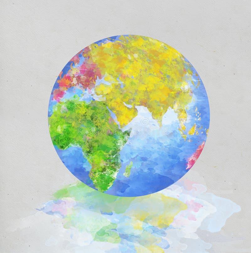 Pintura do globo no papel ilustração do vetor