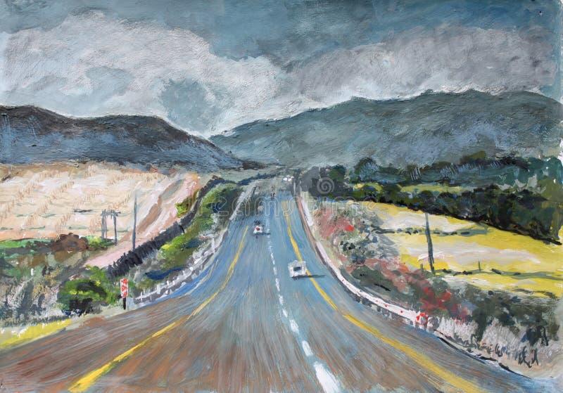 Pintura do guache da estrada em África do Sul ilustração do vetor