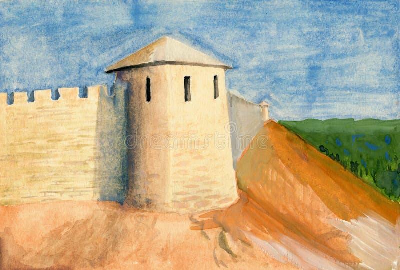 Pintura do guache do castelo ilustração do vetor