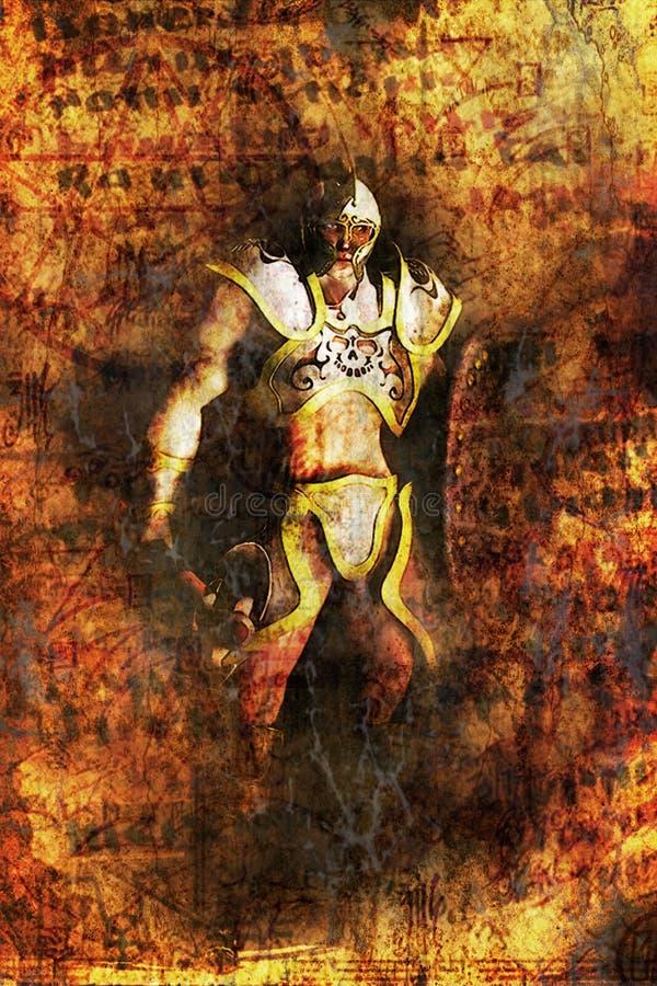 Pintura do guerreiro da fantasia ilustração royalty free